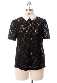 #Chicwish Contrast Peter Pan Collar Lace Top in Black by Chic+