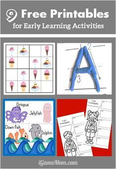 9 sets free printables for early learning activities: counting, math, alphabet, hand writing, science, ... #ece #printable