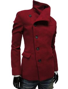 Steampunk Mens Casual Unbalance Slim Wool Coat Jacket