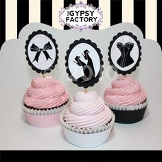 Glam Antoinette Cupcake Toppers From Gypsy Toppers Birthday Party Clipart, Birthday Parties, Lingerie Cupcakes, Bachelorette Party Cupcakes, Hen Party Cakes, Luxury Cake, Beautiful Cupcakes, Pink Cupcakes, Sweet Cakes