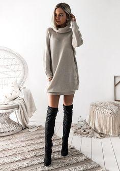 Mini abito taschino alto collo manica lunga moda beige ad2aa0fc4629