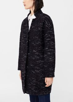 Flecked wool-blend coat