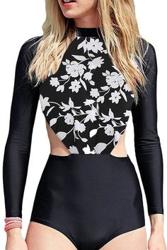 In Dynamic H Bathing Suit Womens Floral One Piece Rashguard Swimsuit Zip Front Surfing Long Sleeve Sun Protection Swimwear Novel Design;