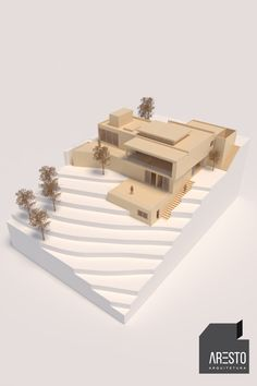 Model of the residential project in tereno downhill and greater use of space. Concept Models Architecture, Architecture Model Making, Library Architecture, Architecture Concept Drawings, Architecture Sketchbook, Stairs Architecture, Cultural Architecture, School Architecture, Architecture Design