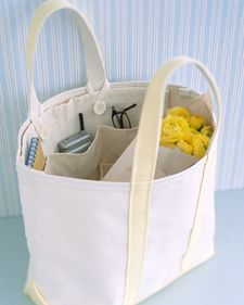 Removable Tote Organizer - made from a carpenter's apron (from hardware store) - got to make this!