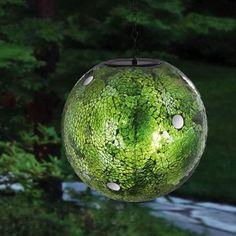 Green Hanging Solar Glass Gazing Ball