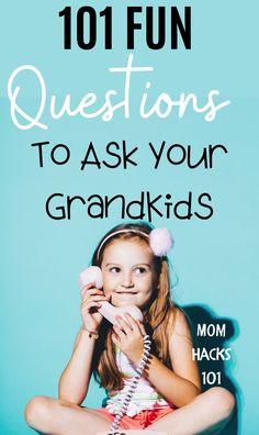 Connect with grandkids! 101 Fun Questions To Ask Kids For A Really Fun Time! #kids #questions #questionoftheday #grandchildren #grandkids #funny #familyfun