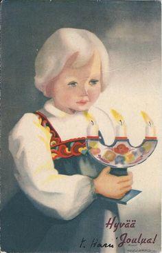 Illustration by Milly Heegaard (Norwegian, Norwegian Christmas, Scandinavian Christmas, Christmas Art, Vintage Christmas, Christmas Ideas, Xmas, Vintage Cards, Vintage Postcards, Heart For Kids