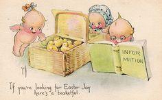 ROSE O'NEILL 1922 Easter. KEWPIES & Duckling by Gibson, Easter Joy. | eBay!