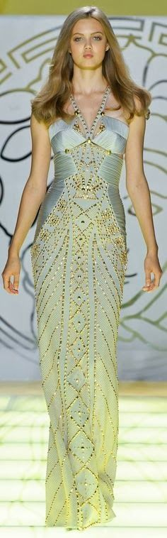 Modern Goddess -Versace blue and gold glamour gown