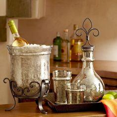 Hammered glass bar accessories make stunning displays #host #gift #NapaValleyHoliday