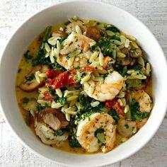 Garlic Orzo Tuscan Shrimp for Two - serves 2