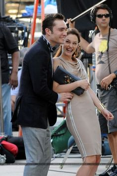 Ed and Leighton behind the scenes