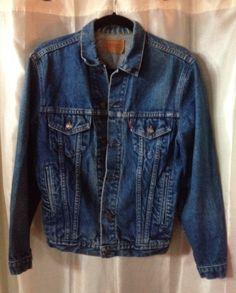 LEVI's Denim Jacket Mens BLUE JEAN Jacket 36R - 4 Pocket Red Label 1970's Authentic Trucker Jacket by CreativeNWVintage on Etsy