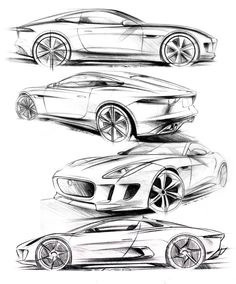 Matthew Beaven's Jaguar concept/production pencil sketches - F-Type Coupe, C-X16 Concept, and C-X75 Concept