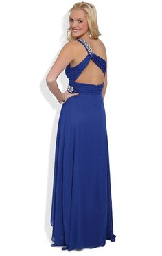 One Shoulder Long Prom Dress with Pleated Bodice and Stone Accents $99.90