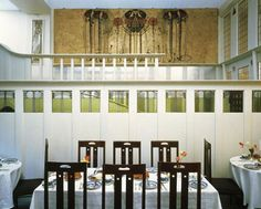 rCharles Rennie Mackintosh - Ladies Luncheon Room at Miss Cranston's tea rooms