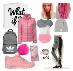 """Slay in pink"" by bad-wolf-18 ❤ liked on Polyvore featuring NIKE, adidas, Torrid and Happy Plugs"
