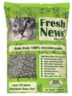Fresh News Post Consumer Paper Pellet Cat Litter, 12-Pound by Fresh News Paper Cat Litter ** Check out this great product. (This is an affiliate link and I receive a commission for the sales)