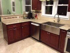 cherry kitchen cabinets stainless steel farm sink beige granite counter tops subway tile - Stainless Steel Farm Sink