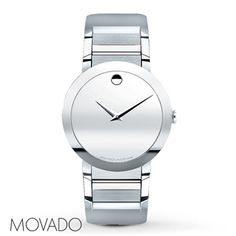From the Sapphire™ collection, seamless brilliance is reflected in the silver-tone mirror Museum® dial of this Movado® men's watch. The stainless steel case and bracelet complete the handsome style. The watch has a precise Swiss quartz movement. Available at select Kay Jewelers locations -- call 1-800-527-8029 for the store nearest you.