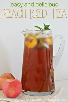 This refreshing summer peach iced tea is easy to make and the perfect summer refreshment! This refreshing summer peach iced tea is easy to make and the perfect summer refreshment! Refreshing Drinks, Summer Drinks, Fun Drinks, Healthy Drinks, Healthy Food, Beverages, Mixed Drinks, Cold Drinks, Nutrition Drinks