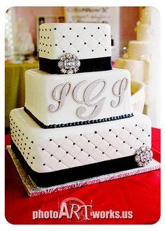 Black and White Wedding Cake White Wedding Cakes, Black And White Wedding Cake, Desserts, Tailgate Desserts, Deserts, Postres, White Wedding Dresses, Dessert
