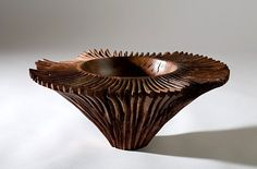 Bowl made from burr elm with carved exterior by Irish woodturner Kieran Higgins