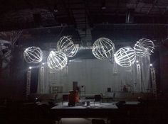 This is a perfect combination of elements that would be so easy to use. The painted trees/shrubs for fill in. The faux trusses made out of pvc. And the spheres for placement onstage.
