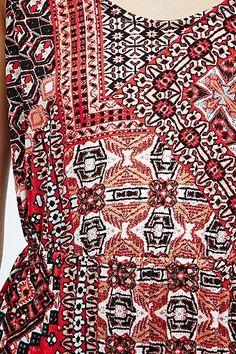 Ethnic tribal geo print; Stars Boho Maxi Dress in Red