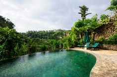 A resort's curved infinity pool perched on the edge of a hill, with tall flowering bushes on the edge. A stone patio with green lounge chairs and umbrella sits in the corner.