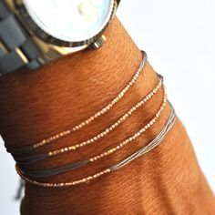 Image of Rose gold and Gray silk friendship bracelet