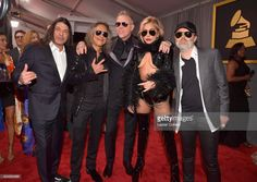 Singer Lady Gaga (2nd from R) with (L-R) musicians Robert Trujillo, Kirk Hammett, James Hetfield, and Lars Ulrich of Metallica attend The 59th GRAMMY Awards at STAPLES Center on February 12, 2017 in Los Angeles, California.  (Photo by Lester Cohen/WireImage)