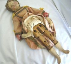 All Original Early German Wooden Doll
