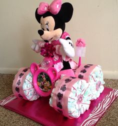 Mini mouse carriage diaper cake that i custom made on my own using how to make baby diaper cake negle Images