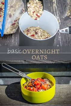 These vegan overnight oats are an easy, healthy camping breakfast that requires no stove and takes only a few minutes to prepare. Camping Breakfast, Vegan Breakfast, Breakfast Recipes, Vegan Overnight Oats, Road Trip Food, Camping Meals, Camping Life, Thing 1, Protein Foods