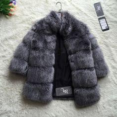 Ffブランド毛皮コート冬のファッション女性フェイクフォックス毛皮のコートスタンド襟毛皮のような女性フェイクファージャケット高級長い毛皮のコートジャケット