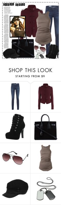 """""""Fashion battle"""" by eva-van-aardbei ❤ liked on Polyvore featuring AG Adriano Goldschmied, Karen Millen, Yves Saint Laurent, Ray-Ban, Rick Owens, polyvoreeditorial and militaryjacket"""