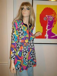 Vtg 1970's Psychedelic Heart Pop Art Flower Tunic Top Hippie Boho Festival s M | eBay