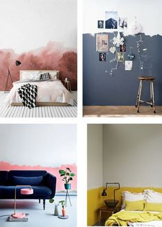 Color Idea: half painted walls - Interior Notes - Color Idea: half painted walls – Interior Notes The Effective Pictures We Offer You About colorfu - Bedroom Wall, Diy Bedroom Decor, Living Room Decor, Wall Decor, Living Rooms, Half Painted Walls, Cool Walls, Home Decor Accessories, Cheap Home Decor