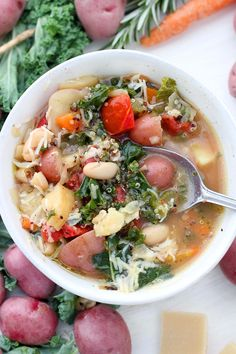 This Winter Minestrone Soup is packed with seasonal root vegetables like potatoes, parsnips, cabbage, and kale, as well as healthy quinoa and beans. Topped with plenty of extra-virgin olive oil and parmesan cheese, it's a delicious, hearty recipe to keep you warm this winter! Stovetop, Slow Cooker, and Instant Pot friendly.