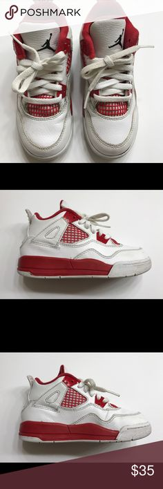 Air Jordan Retro 4 White and Red Size 11c • Red  • White  • US 11c  • EUR 28 • CM 17 Jordan Shoes Sneakers