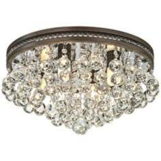 "$299 Regina Bronze16"" Wide Crystal Ceiling Light"