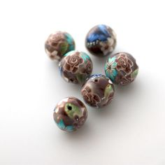 Polymer Clay Beads Round Brown Rose Turquoise by tooaquarius