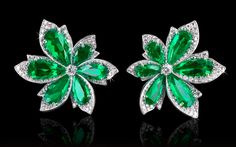 David Morris Natural Colombian Emerald & Diamond Palm Leaf Earrings.