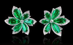 Natural Colombian Emerald & Diamond Palm Leaf Earrings.