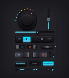 FREE PSD *** Dark Music UI Elements by Rafi, via GraphicsFuel *** As always, the PSD file contains several different popular UI elements created using shape layers. Editable layers allow you to easily edit and make changes to fit your designs for iOS / android apps, web interfaces, etc. The freebie includes UI elements such as volume knob, equalizer, music controls, sliders, buttons, and more to name a few.