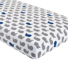 I have found the bedding for Wyatt's room!!! The Land of Nod | Crib Fitted Sheet (Blue Whale) in Crib Fitted Sheets