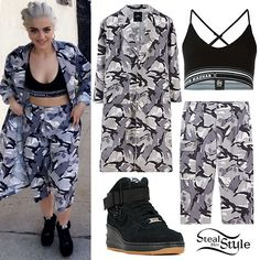 Bebe Rexha posted a snapchat photo on Tuesday wearing the Joyrich Men's Brushed Camo Coat ($255.00, sold out), Nasir Mazhar Waffle Pluge Bra ($176.61), Joyrich Men's Brushed Camo Shorts ($141.00), and Nike Women's Lunar Force 1 Sky Hi Sneakers ($99.99).