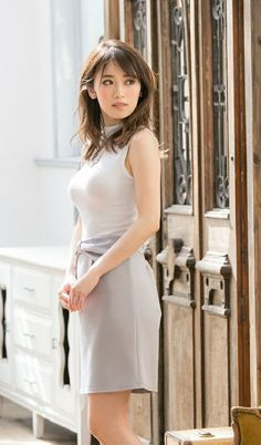 Japanese Beauty, Asian Beauty, Gorgeous Women, Beautiful, Sexy Outfits, White Dress, High Neck Dress, Dresses For Work, Celebs